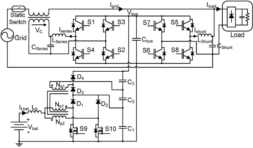 Circuit schematic of the series-parallel line-interactive