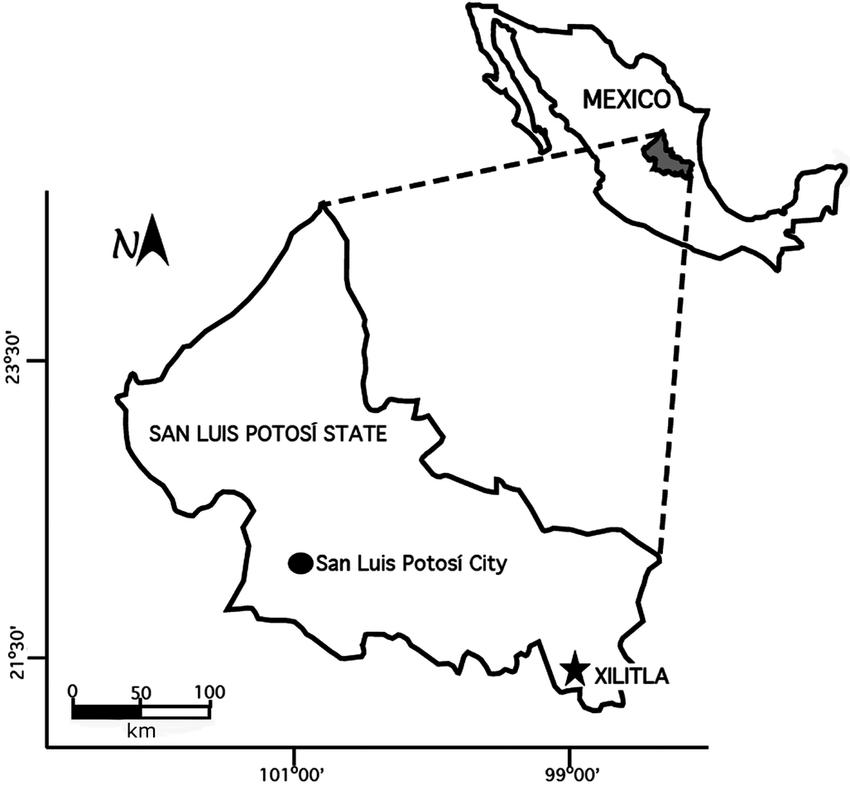 Location map of the study area at Xilitla, San Luis Potosí