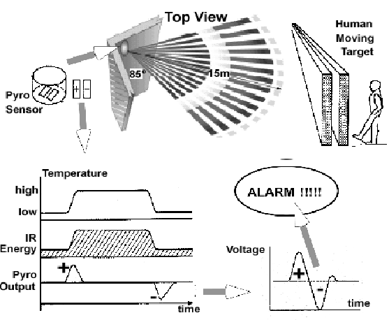 Schematic view of the principle of a PIR sensor. When a