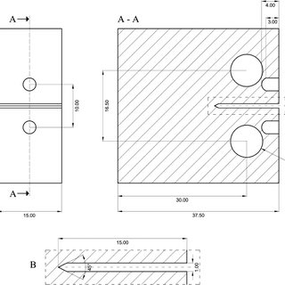Geometry of the compact tension specimen (dimensions are