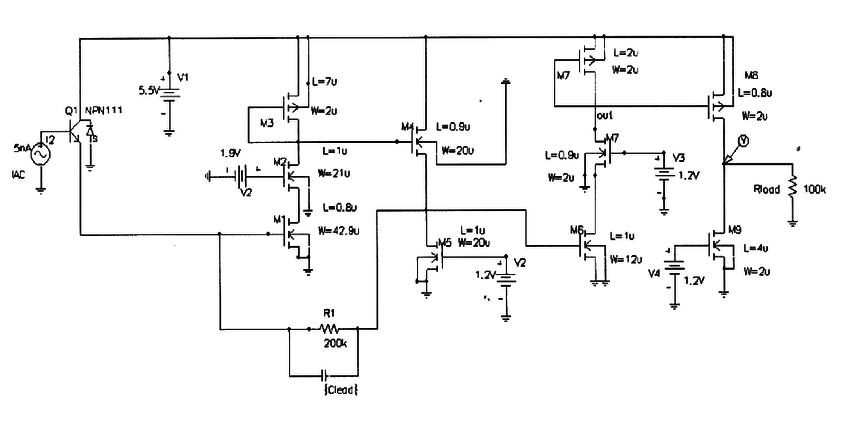 Circuit diagram for the designed 200 Mbps optical detector