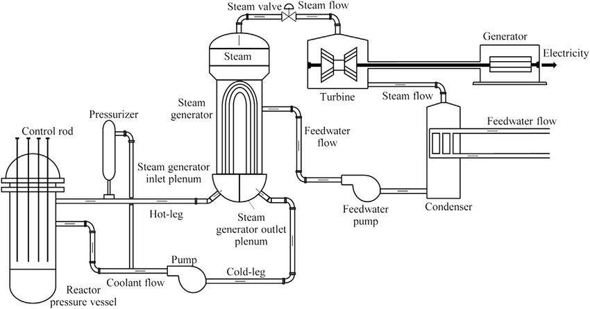 Schematic diagram of a pressurized water reactor