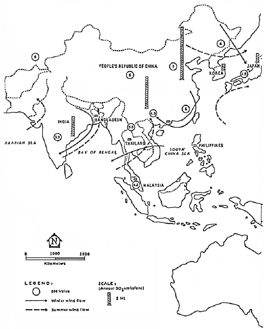 hight resolution of acid rain distribution in asia