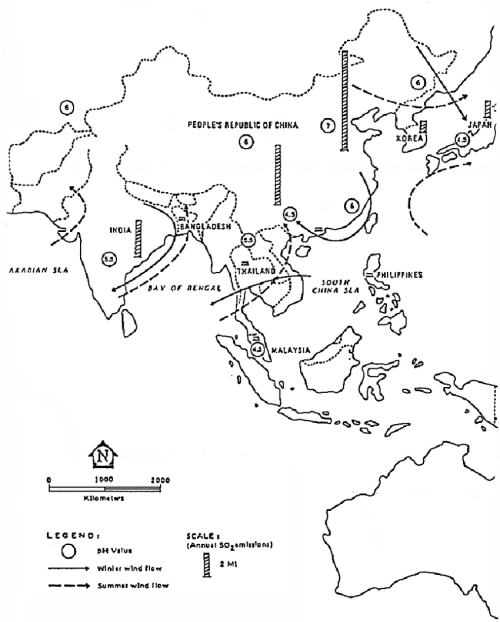 small resolution of acid rain distribution in asia