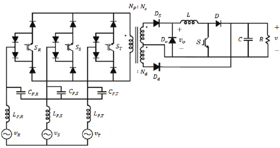 Three-phase isolated buck+boost rectifier