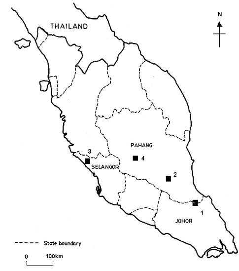 –Map of the four sampling sites in Peninsular Malaysia: 1