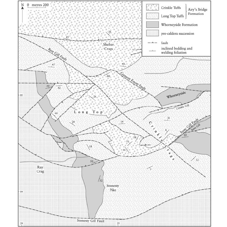 11: Simplified map of the Ray Crag and Crinkle Crags GCR