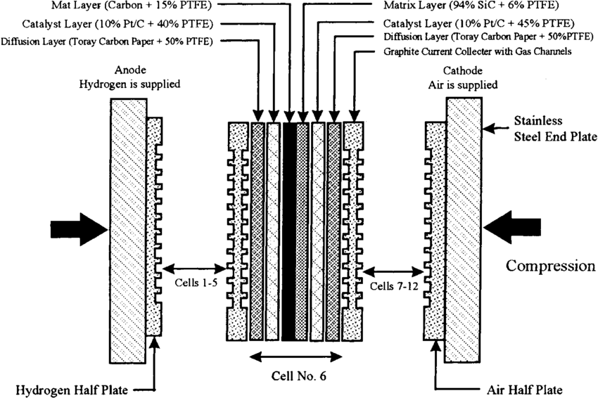 Schematic diagram of mono cell 6 in the 100 W PAFC stack