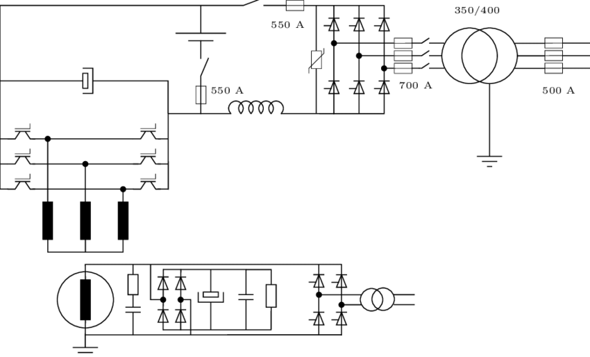 1 Schematic of the electrical layout in the lab. The fuses