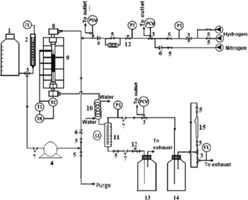 Schematic diagram of the reactor design: (PI) pressure