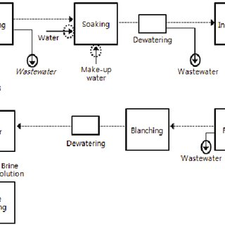 Simplified beans processing flow diagram. The dashed lines