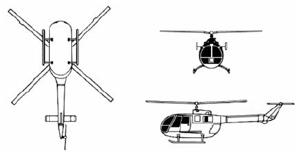 Three side view of the helicopter MBB Bo 105. Rotor