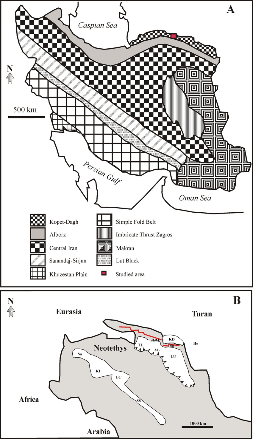(A) Map of Iran showing the nine geological–structural