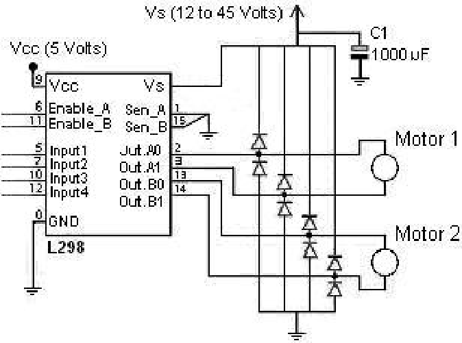 Driver and motors circuit The microcontroller sends