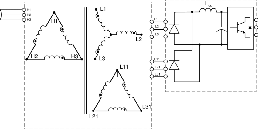 Typical schematic of a 12-pulse configuration using a 3
