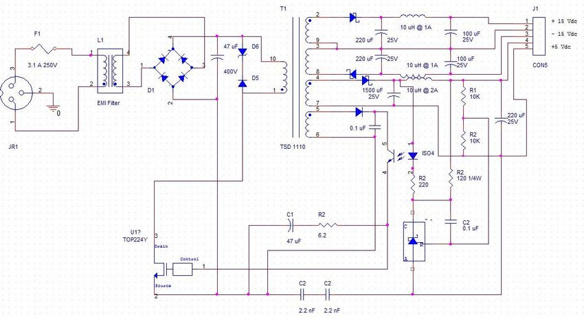 SMPS design schematic diagram for DSC digital board