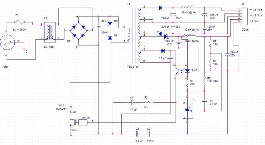 SMPS design schematic diagram for DSC digital board