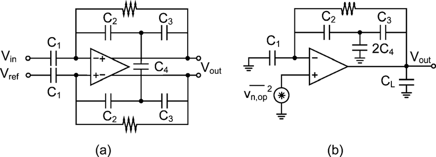 (a) Compact low-noise differential amplifier. (b) Half