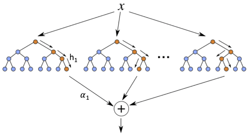 Schematic diagram of a boosted ensemble of decision trees