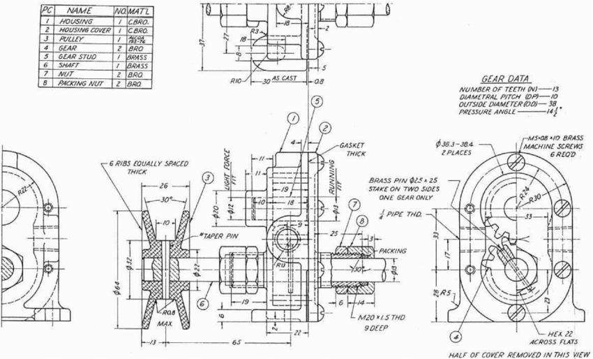 Drawing of gear pump used in the RIED test to explore