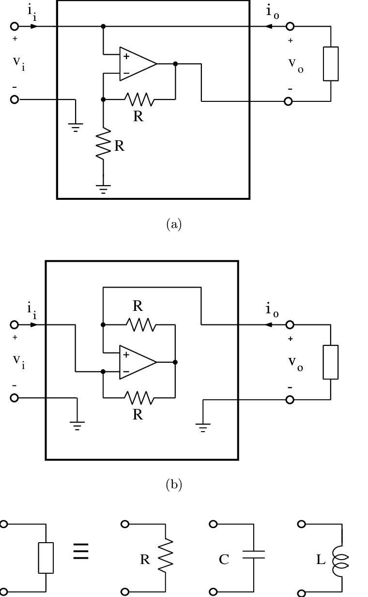 medium resolution of schematic diagrams of the circuit for a negative resistor a negative capacitor and a negative