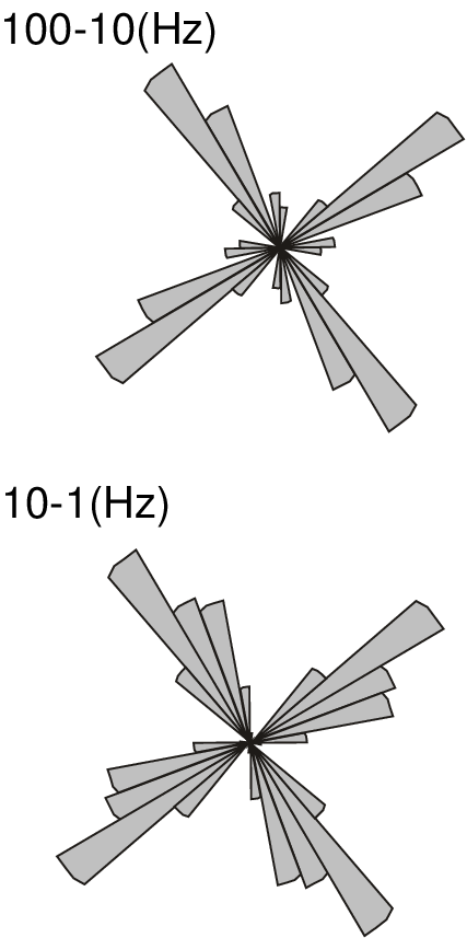 Rose diagrams of the strike estimates, combined for all