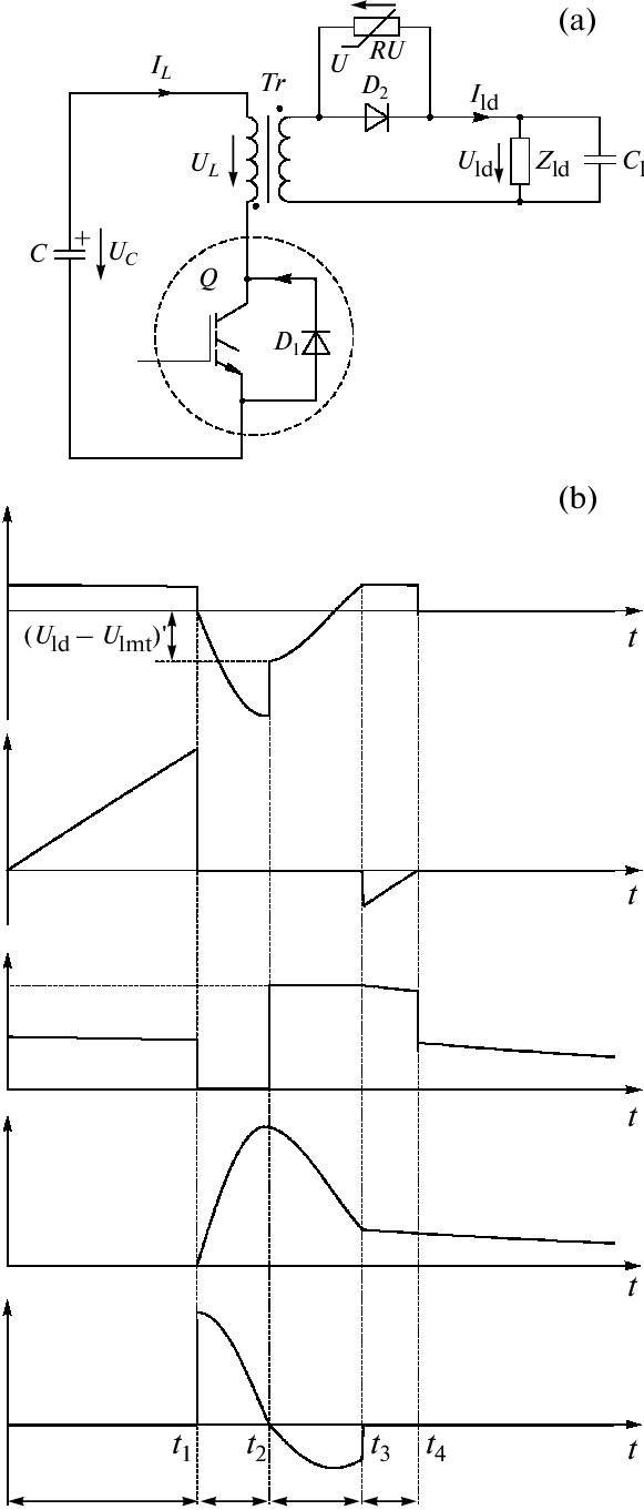hight resolution of  a circuit of the output stage of the current source with an inductive storage