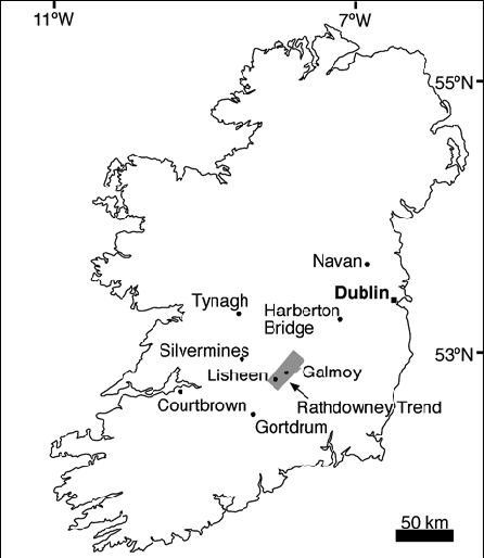 Location map of Ireland outlining the location of: the