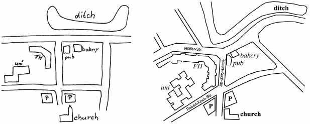 A sketch map (left) with its corresponding metric map