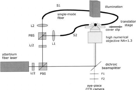 Schematic drawing of our combined optical tweezers and
