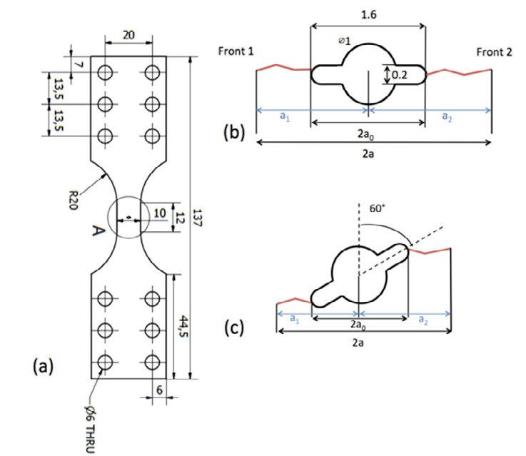 Specimen and notch geometries: (a) specimen, (b) notch for