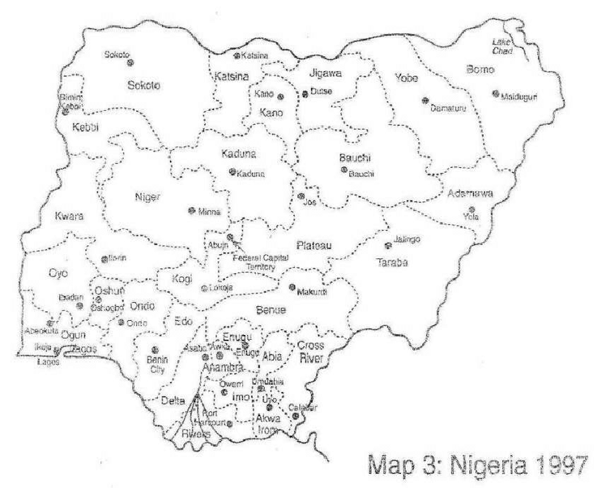 Map of Nigeria showing various states (including those