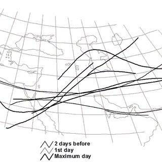 Typical jet stream tracks of studied systems based on