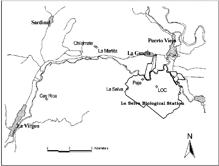 Map of the study area and the locations of the secondary