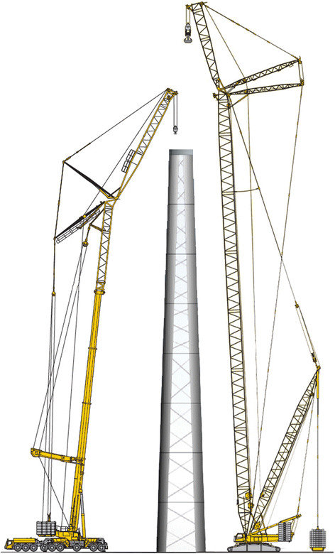 hight resolution of comparison of a mobile crane and a crawler crane for a wind turbine liebherr werk