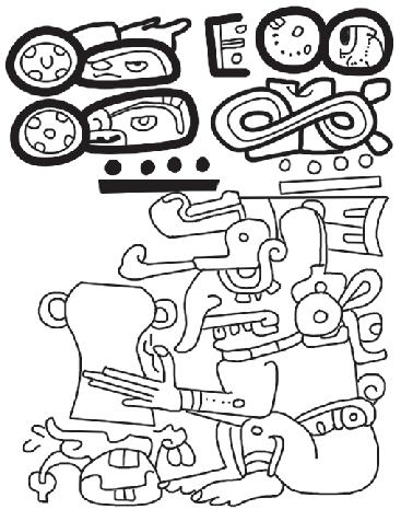 Códice Madrid 26 d, columna 1. El dios B, Chaak, vierte su
