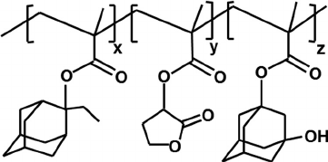 Approximate chemical structure of the 193 nm photoresist