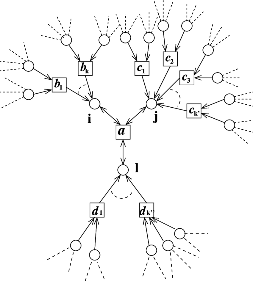 Function node a and its neighboring graph