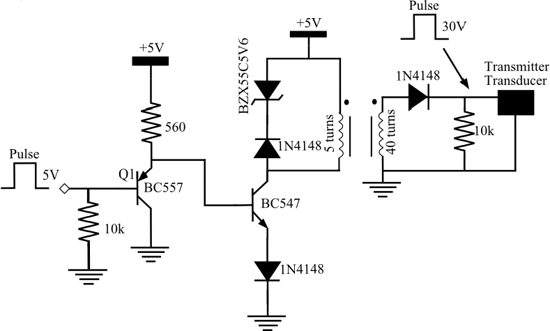 Schematic diagram of the circuit to excite transducer T1
