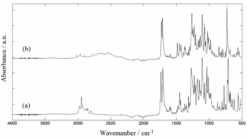 ATR-FTIR spectra of the standards of (a) cocaine base and