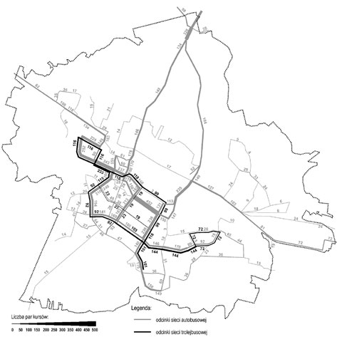 The number of two-way trolleybus and bus routes on