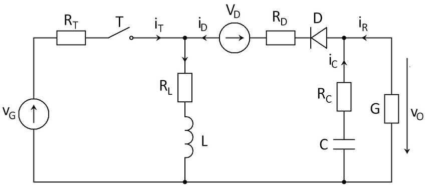 Circuit of a BUCK-BOOST converter, including all parasitic