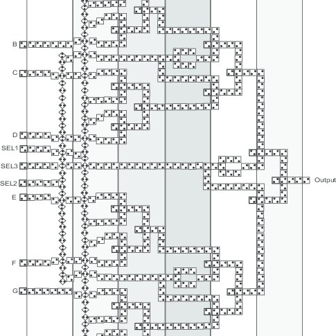 8-to-1 QCA multiplexer, one-dimensional clocking
