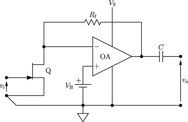 The amplifier schematics. See text for an explanation of