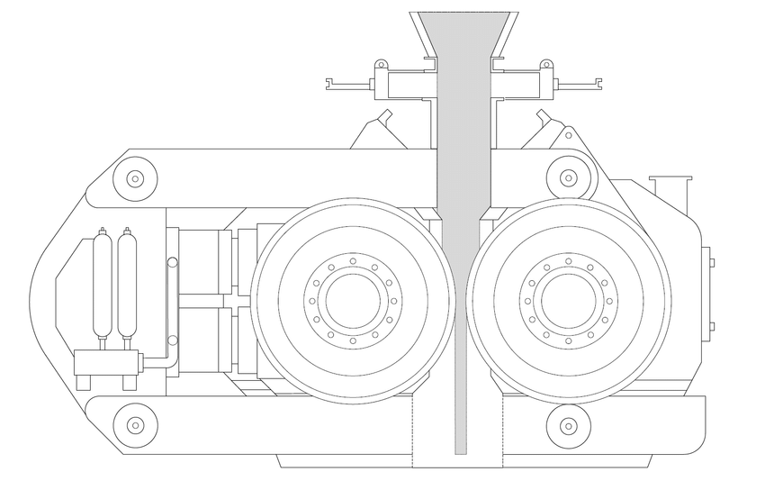 6: A drawing of an HPGR crusher based on the FLSmidth