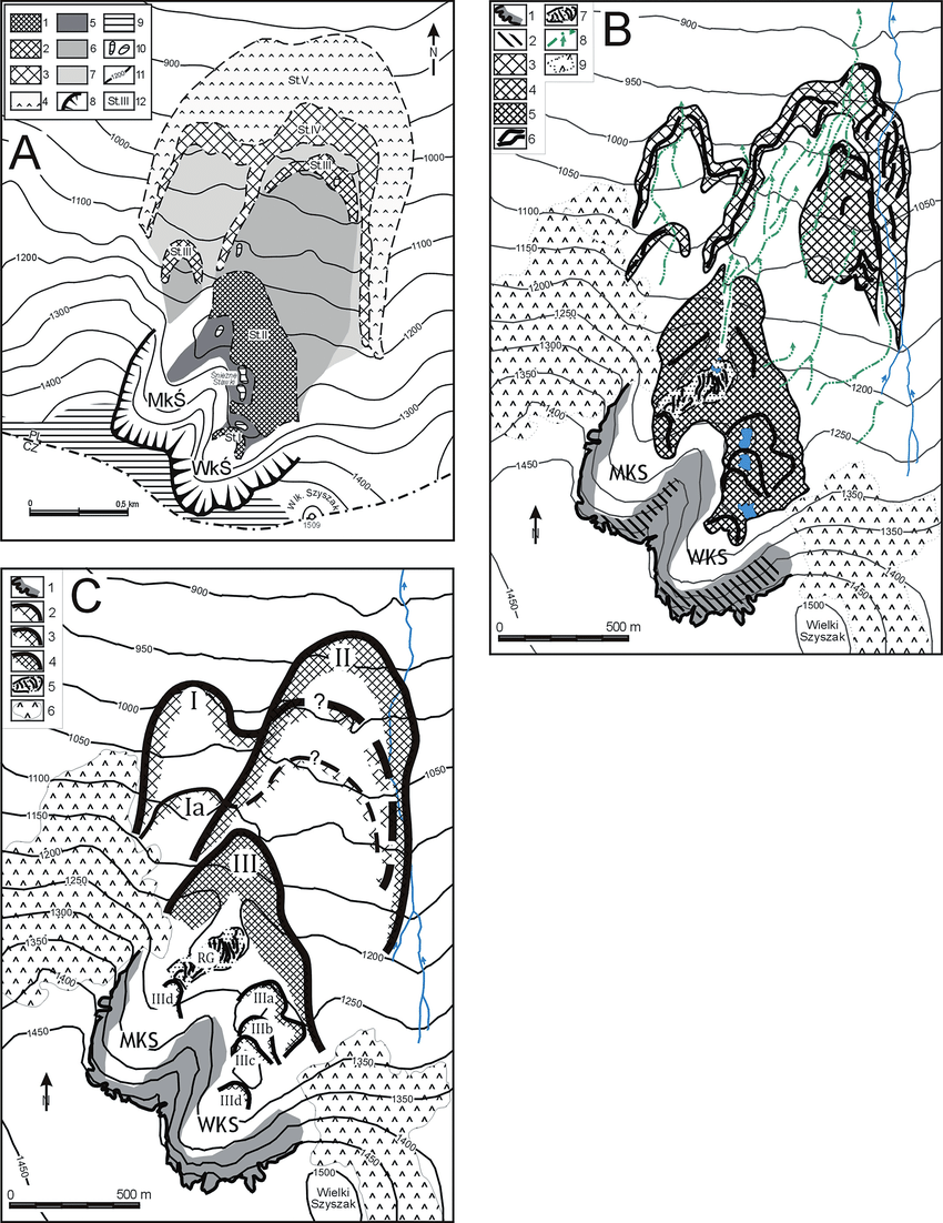 Past and updated interpretation of the glacial morphology