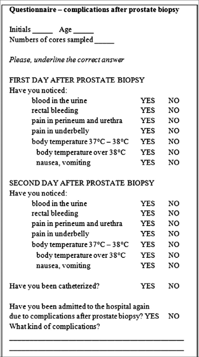 hight resolution of questionnaire complications after a prostate biopsy