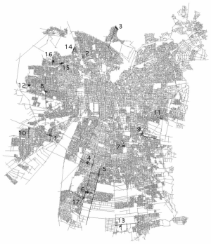 Axial Map of Santiago de Chile with Lines of Settlements