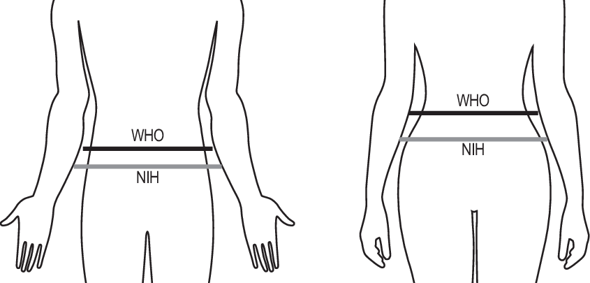 Waist circumference measurement sites for men and women