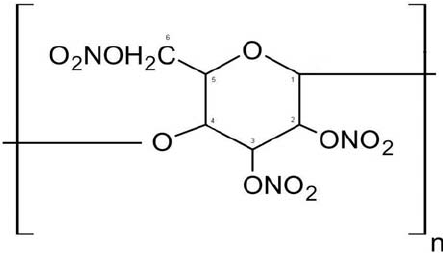 Theoretical chemical structure of a nitrocellulose polymer